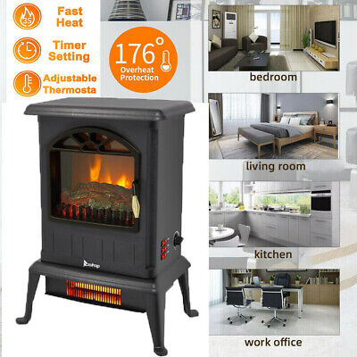 $69.99 • Buy 1500W Infrared Space Heater Free Standing Electric Fireplace 3D Flame Stove US