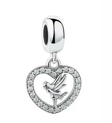 £12.99 • Buy 🦋💜 Sterling Silver 925 Disney Tinkerbell Heart Charm &gift Pouch