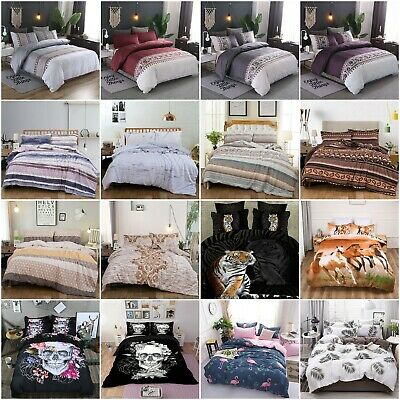 AU37.99 • Buy Skull Floral Doona/Duvet/Quilt Covers Set Single Double Queen King Size Bed New
