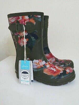Joules Mid Rain Boots Molly Welly Olive Green Floral New 9 • 55.99$