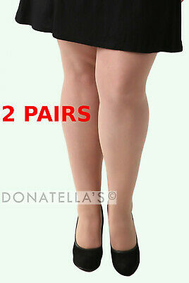 2 PAIRS - Plus Size SHEER TIGHTS 20 2xl 22 24 26 3x 28 30 Pantyhose Nude Beige • 7.80£
