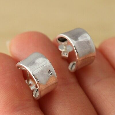 925 Sterling Silver 12mm X 7mm Plain Huggie Half Hoop Earrings Jewellery • 12.48£