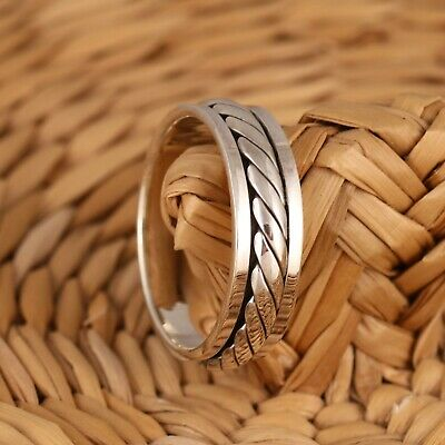 925 Sterling Silver Celtic Twist Spinning Band/Thumb Ring 7mm Wide Mens/Womens • 19.98£