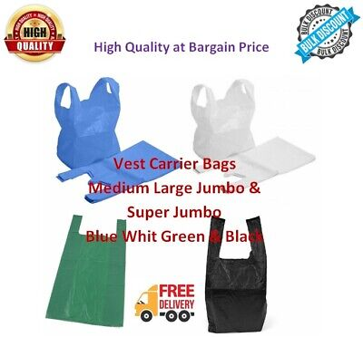 VEST CARRIER BAGS PLASTIC POLYTHENE SHOPPING Bag Blue White Green Black All Size • 3.85£