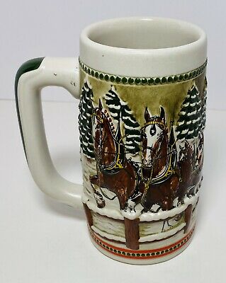 $ CDN10.47 • Buy 1984 Covered Bridge Budweiser Holiday Christmas Beer 🍻 Stein