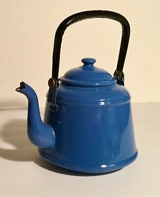 $18.99 • Buy Vintage Blue Enamel Tea Pot