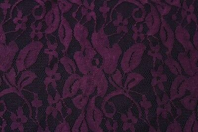 Luscious Floral Raised Simple Soft Stretch Lace Dress Fabric Material(Aubergine) • 3.99£