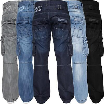 Mens Cargo Combat Jeans Heavy Work Trousers Denim Pants Big King Tall All Waists • 14.99£