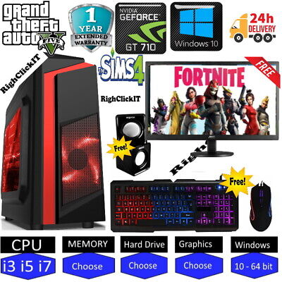 ULTRA FAST  Quard Core I7 Gaming PC Computer PC 2TB 16GB RAM GTX 1660 Win10 • 529.99£