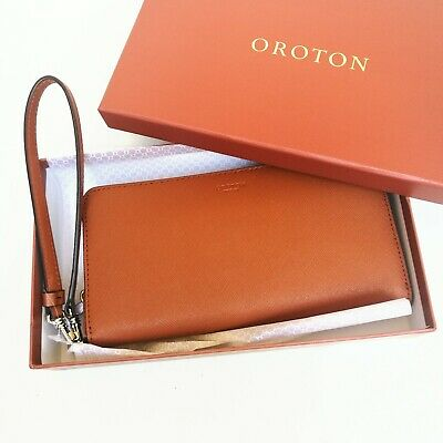 AU99.95 • Buy New OROTON Wallet Libery Slim Zip Around Clutch Purse Cognac Leather RRP$199