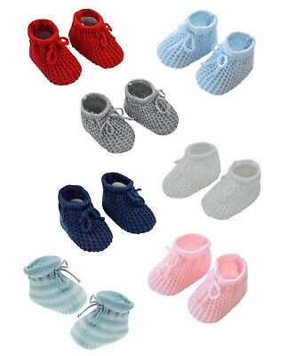 Newborn Baby Boys Knitted Booties Spanish Style Bow Navy Grey White Blue Red NEW • 2.99£