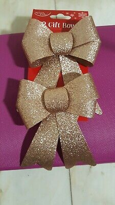 Pack Of 2 16cm Glittered Christmas Bows Tree Decorations Seasonal Rose Gold • 2.44£