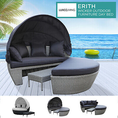 AU759 • Buy Outdoor Furniture PE Wicker Day Bed Sun Lounge Sofa Rattan Canopy Garden Setting