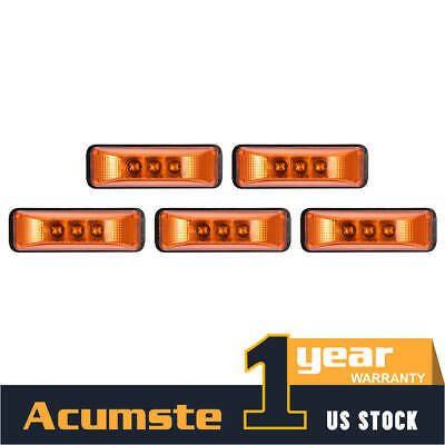 5x 4  Waterproof Side Marker & Clearance LED Light Amber Trailer Truck RV Boat • 23.86$