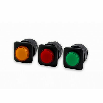LED Illuminated 16MM Square Momentary Push Button Switch Car Dashboard SPST 2Pin • 1.69£