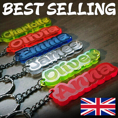 BEST Personalised FROZEN KEYRING KEYCHAIN GIFT ANY NAME SCHOOL BAG TAG LASER WOW • 1.98£