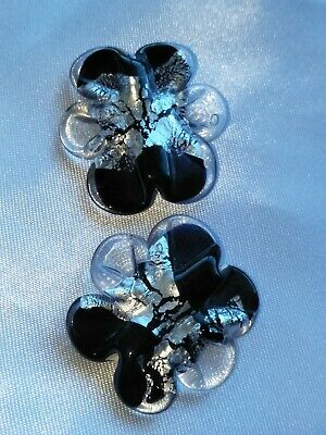 AU3.79 • Buy 2x Czech Glass Feature Beads Large Black And Silver Foil (jb3970)