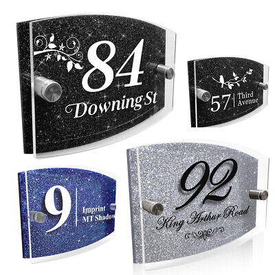 £8.99 • Buy Modern Door House Number Plaque Personalised Glass Effect Acrylic Glitter Sign