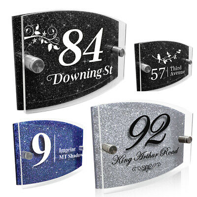 Modern Door House Number Plaque Personalised Glass Effect Acrylic Glitter Sign • 7.99£