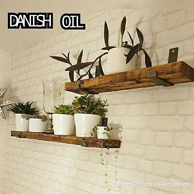 Rustic Wooden Shelves Chunky Wooden Shelf Includes Brackets • 20.50£