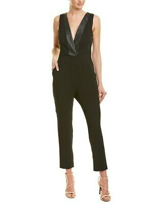$28.82 • Buy New $128 Bcbgeneration Womens Black Tuxedo Sleeveless V Neck Jumpsuit Size 6