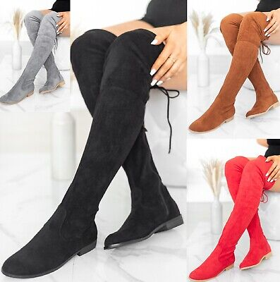 Ladies Womens Flat Heel Over The Knee High Long Faux Suede Zip Thigh Boots Size • 19.99£