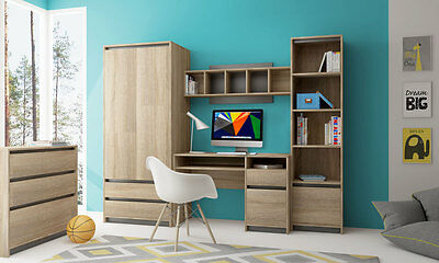 Children Teens Bedroom Furniture Strong And Solid, Sonoma & Grey Wall Unit Madg1 • 369.99£