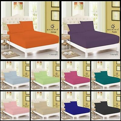 Extra Deep Fitted Sheet Bed Sheets 16 /40cm Single Double King Super All Sizes • 3.44£