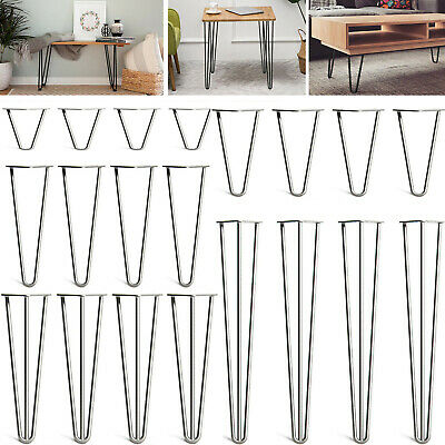 £15 • Buy 4 X Hairpin Legs / Hair Pin Legs Set For Furniture Bench Desk Table In Steel