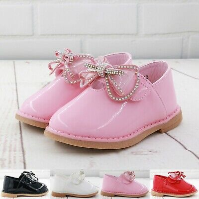 Kids Baby Infants Girls Diamante Bow Spanish Wedding Party Patent Toodler Shoes • 10.99£