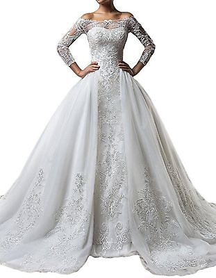AU189.80 • Buy Vintage Mermaid Long Sleeve Wedding Dress Lace Bridal Gown With Detachable Train