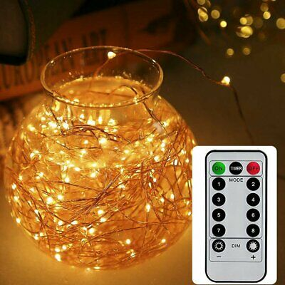 Fairy String Lights LED Battery Party Outdoor Xmas Remote Control Wedding Party • 4.99£