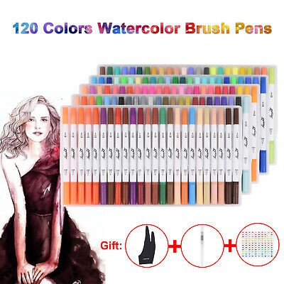 $35.99 • Buy 120 Brush Pen Set Markers Dual Tips Watercolor Paint Sketch Drawing Coloring Art