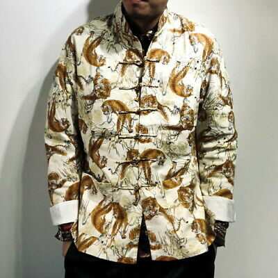 $216.62 • Buy Mens Tang Suit KungFu Coat Jacket Chinese Knot Button Yuppie Tiger  Unisex