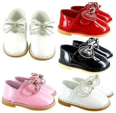 Kids Infants Baby Toodler Patent Spanish Bow Flat Diamante Party Wedding Shoes • 7.99£