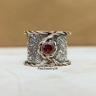 Garnet Ring 925 Sterling Silver Wide Band Ring Statement Handmade Jewelry- H49 • 12.97£