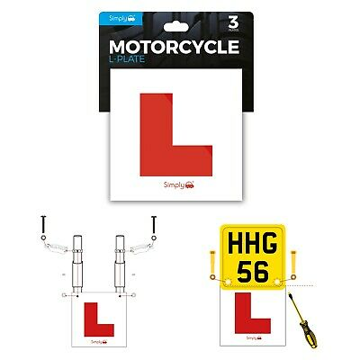 £8.99 • Buy Simply 3 Pack Motorcycle Motorbike Scooter Learner L Plates Adhesive & Fittings