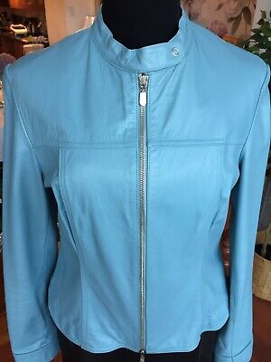 $ CDN49.99 • Buy GORGEOUS DANIER Leather Jacket Baby Blue Size 6 Or Small  FABULOUS & STUNNING!