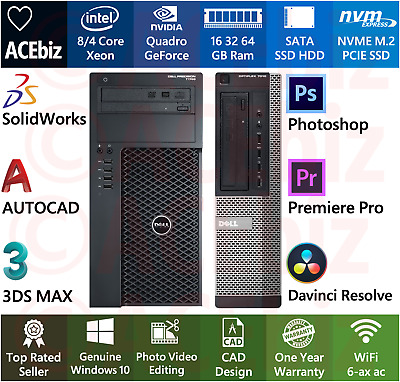 $ CDN1319.72 • Buy CAD Solidworks Video Photo Editing Workstation 64GB 8C Xeon Quadro Computer NVME