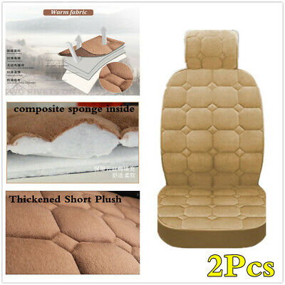 2x Beige Short Plush Chair Cover Cushion Styling Accessories For Car Front Seats • 21.50£