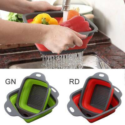 2x Collapsible Colander Fruit Vegetable Washing Drain Basket Folding Strainer • 4.99£