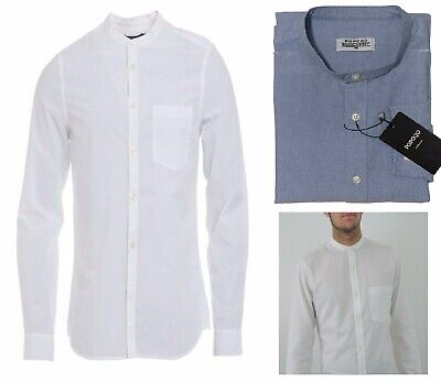 Men's Grandad Collar Long Sleeve White Shirts Regular Fit Collarless Shirt S-XXL • 14.99£