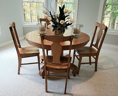 $200 • Buy 36  Round Oak Dining Table Set With Four (4) Wooden Chairs Great Condition