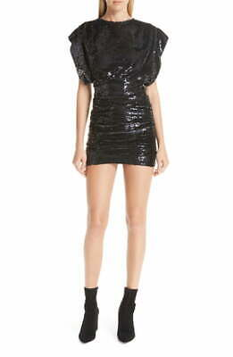 $ CDN169.34 • Buy $650 Iro Women's Black Sequined Sparkling Ruched Skirt Party Minidress Size 36