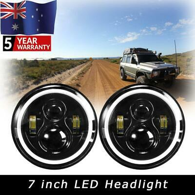 AU73.23 • Buy Pair 7 Inch LED Headlight DRL Light Chrome For Jeep Land Rover 90 110 Defender