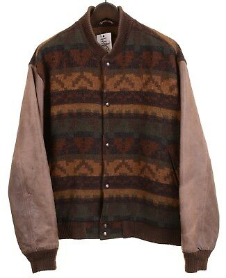 VTG Woolrich Made In USA Wool Navajo Indian Aztec Leather Bomber Jacket L • 138.72£