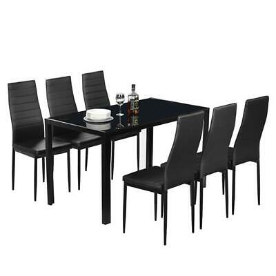 6/7 Set Dining Room Glass Dinning Table Dining Chairs Leather Kitchen Furniture • 105.99$