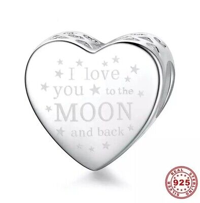 New I Love You To The Moon & Back Genuine 925 Sterling Silver Heart Charm Gift • 13.98£