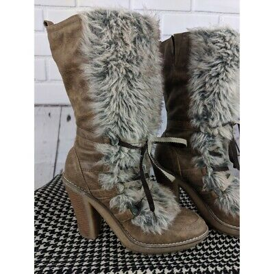 $49 • Buy MTNG Faux Fur And Leather Lace-up Boots Size US 10 EUR 40 Womens