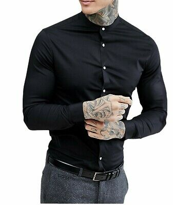 Men's Grandad Long Sleeve Shirts Smart Casual Slim Fit Shirt Mandarin PS30 • 10.99£